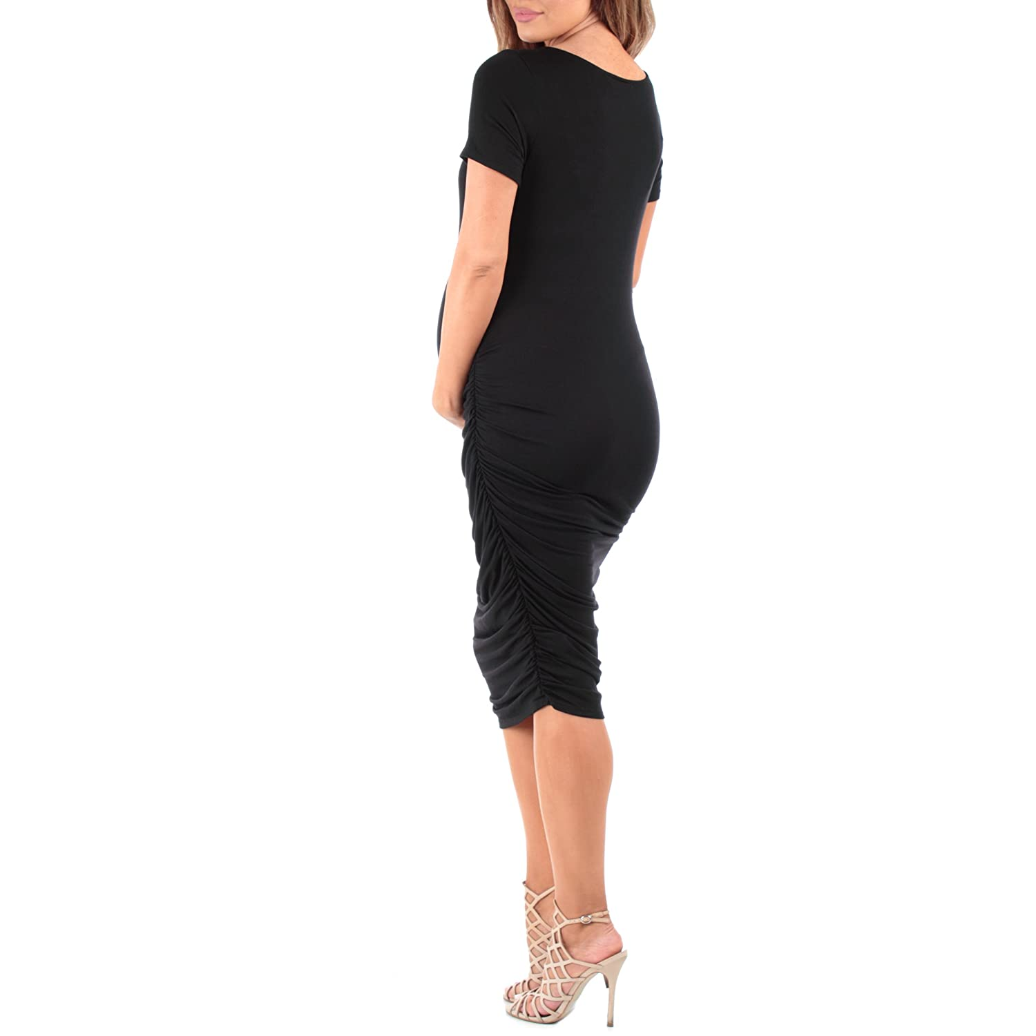 Mother Bee Womens Cowl Neck Ruched Maternity Dress Made in USA