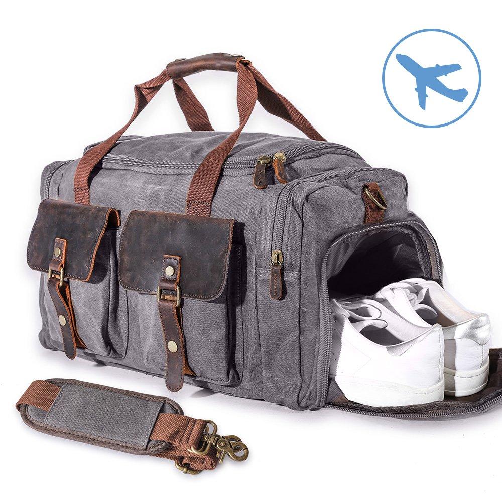 22'' Large Multi-Functional Canvas Travel Duffel Bag Overnight Carry On Bag Travel Tote Shoulder Bag Grey