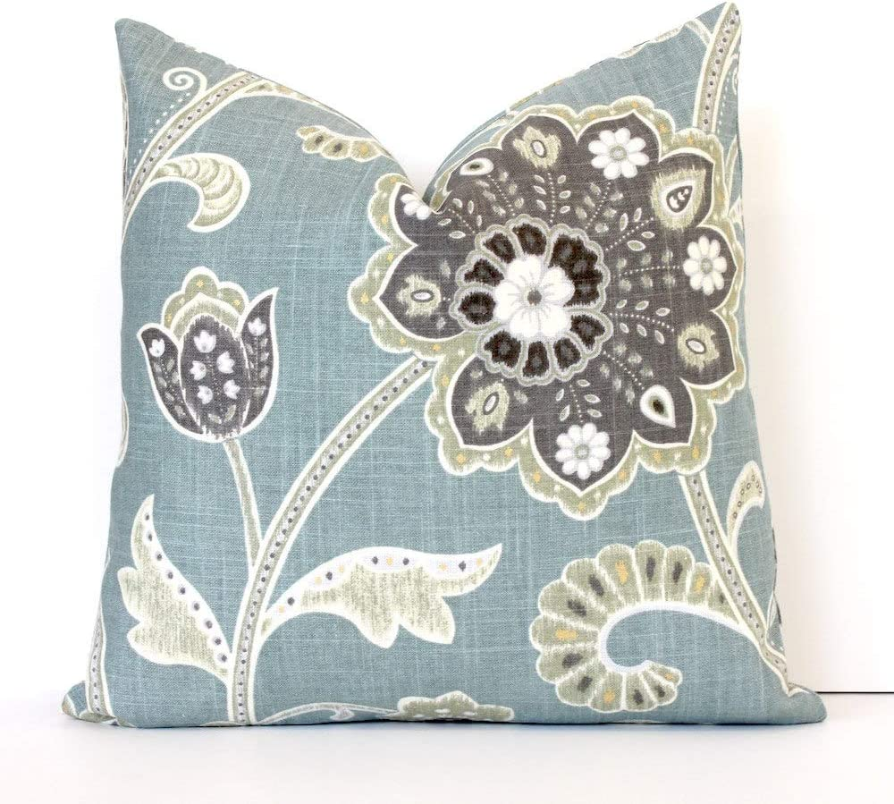 Flowershave357 Pale Spa Blue Jacobean Decorative Designer Pillow Cover Accent Cushion Robins Egg Teal Aqua Charcoal Gray Cream Black Ikat Boho Floral