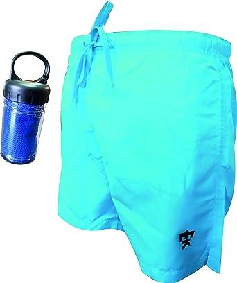 Asciugamano Auto-rinfrescante Costume da Bagno con Rete e Tasche Interne 100/% Polyestere. EKEKO PORTIXOL Confezione di Costume da Bagno e Asciugamano in Microfibra