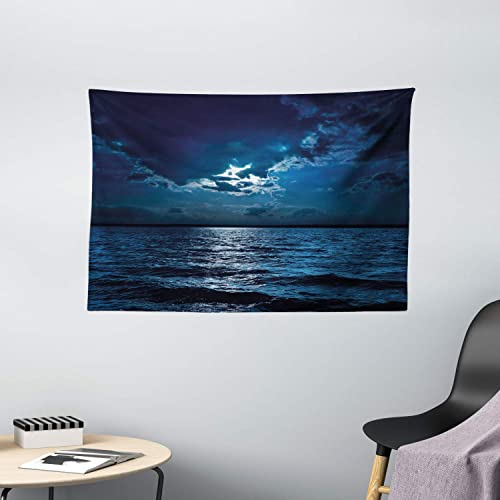 Ambesonne Night Tapestry, Majestic Dramatic Sky Clouds and Full Moon Over Seascape Calm Tranquil Ocean, Wide Wall Hanging for Bedroom Living Room Dorm, 60 X 40 , Blue White