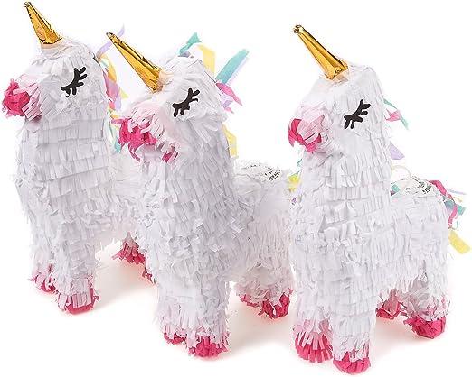 Amazon.com: Pack de 3 Miniatura Unicorn Piñatas – mini-sized ...