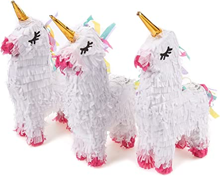 Amazon.com: Pack de 3 Miniatura Unicorn Piñatas – mini-sized ...