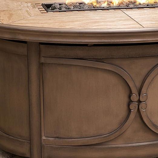 KENDALL 5-pc ambience-outdoors Set (4 sillas y Gas Estufa mesa) - Resistente a la intemperie Sunbrella® Tela, alumicast/inoxidable marco de aluminio con ...
