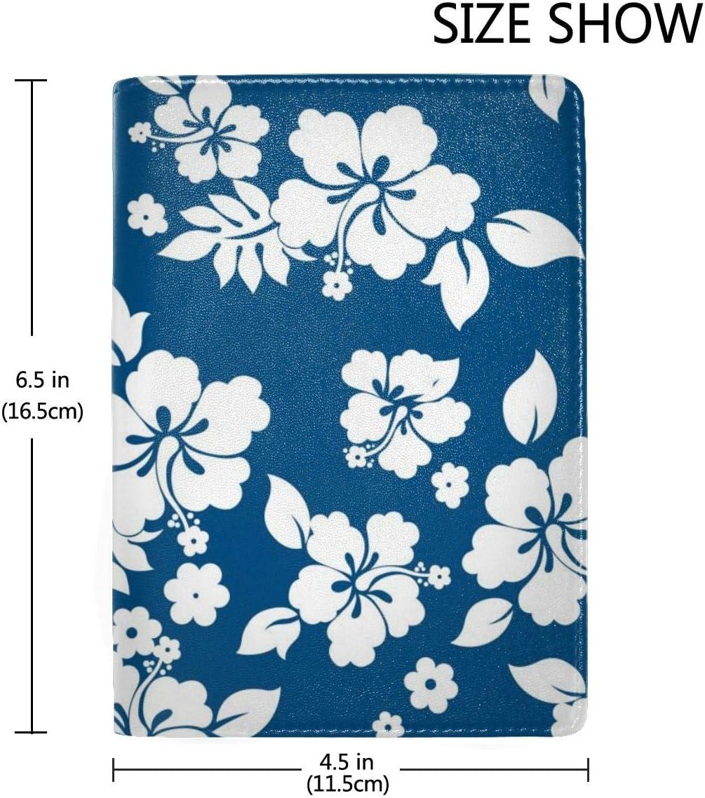 Hawaiian Flower Pattern Fashion Leather Passport Holder Cover Case Travel Wallet 6.5 In