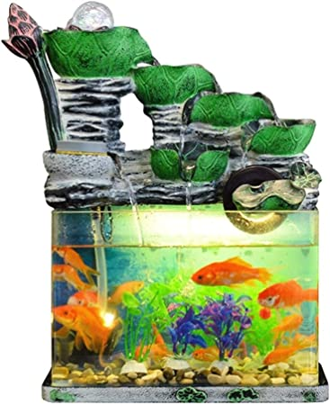 Fuentes de Interior Fuentes decorativas Cubierta de la fuente de escritorio Resina Cascada Inicio Jardín del estanque de peces tanque de peces pequeños de la sala de escritorio ornamentos de la oficin:
