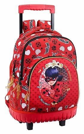"Safta Mochila Escolar Grande Con Ruedas Ladybug ""Sparkle"" Oficial 320x140x460mm"