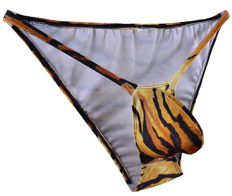 WOSESE Mens String Tanga Bulge Pouch Bikini Tiger WSS26