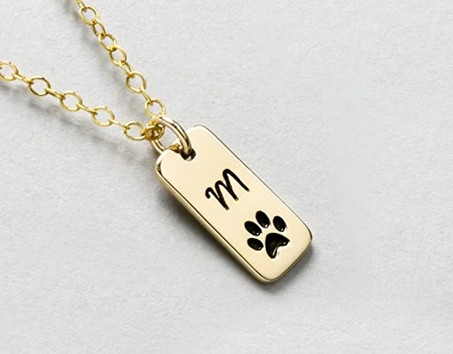 Amazon personalized dog paw print initial necklace or loss of personalized dog paw print initial necklace or loss of pet memorial gift dog walker gift aloadofball Choice Image