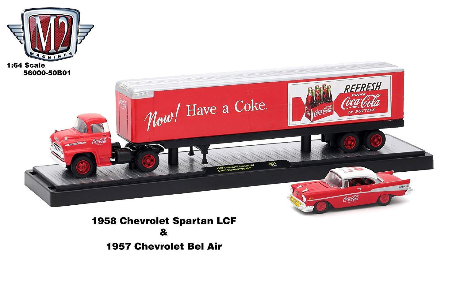 M2 Machines 1958 Chevrolet Spartan LCF and 1957 Chevrolet Bel Air Coke Red Auto Haulers Coca Cola Release 1 64 Diecast Car Model 56000 50B01