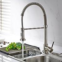 TIMACO waterkraan keuken draaibaar met spiraalveer douche uittrekbaar Gastro Hogedruk keukenkraan gootsteen kraan