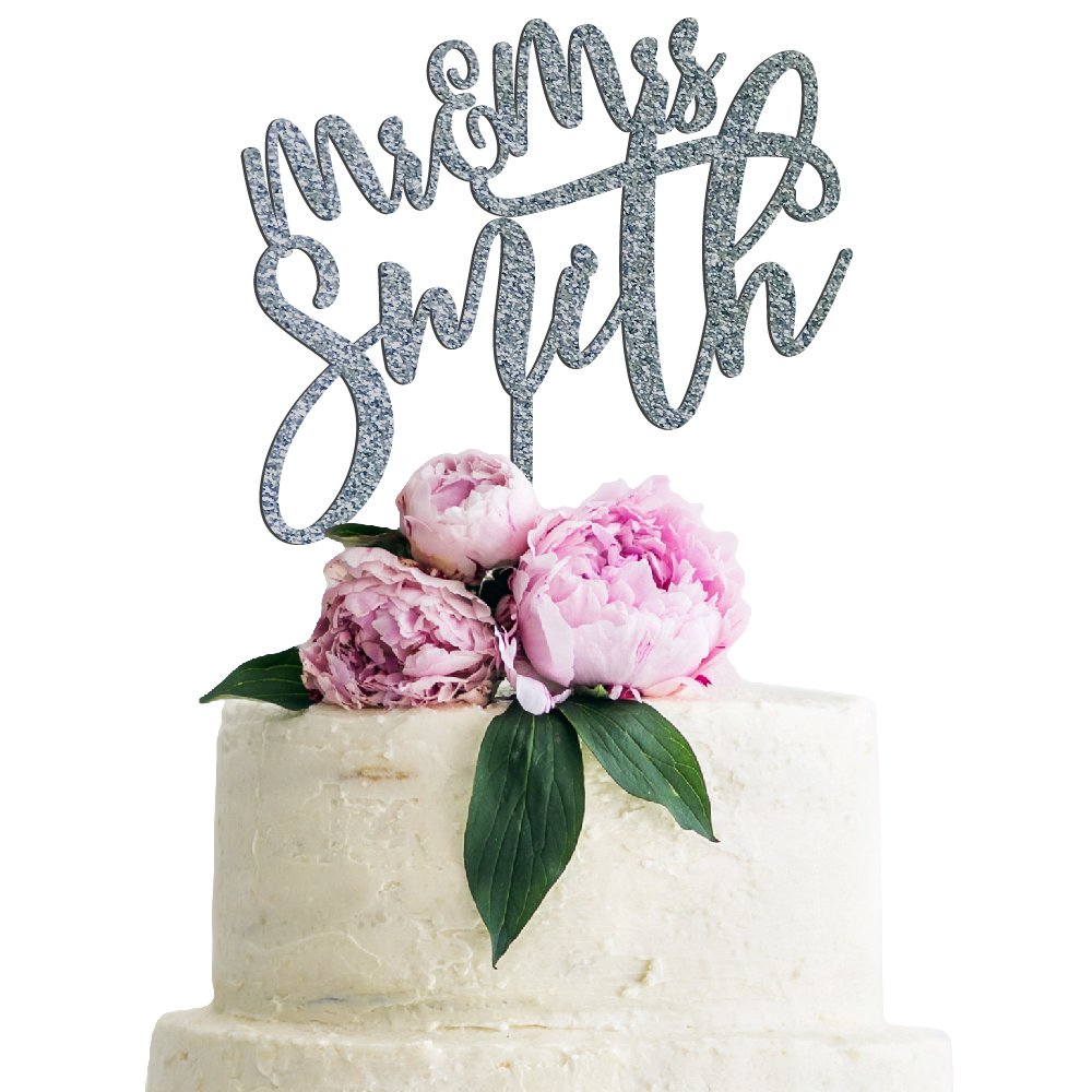 Personalized Wedding Cake Topper Customized Mr. and Mrs. Last Name 4 Color Type and 24 Colors Design 3 (Glitter Colors)