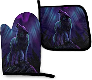 Oven Mitt & Pot Holders Set,Wolves Howl in The Northern Lights Kitchen Heat Resistant and Washable for Cooking Baking Grilling and BBQ Decorative Baking Kitchen Gift