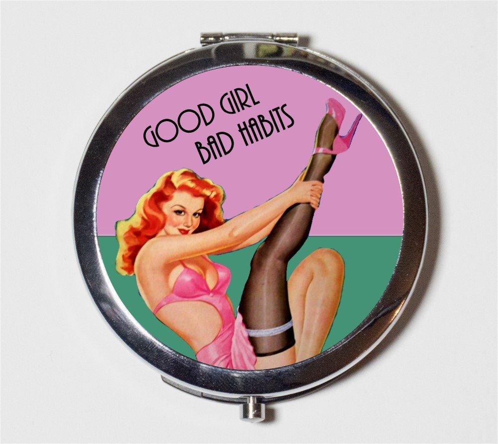 Pin Up Girl Compact Mirror Good Girl Bad Habits Rockabilly Retro Humor Make Up Pocket Mirror Cosmetics
