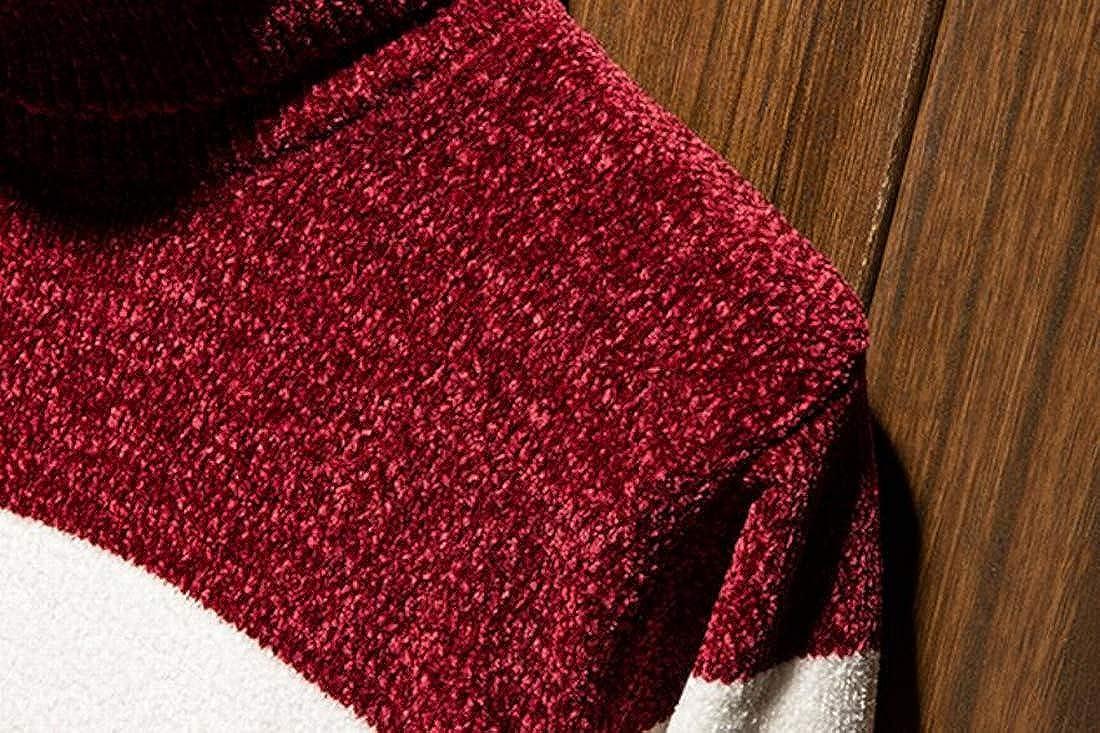 KLJR Men Turtleneck Stripes Knitted Long Sleeves Sweaters Pullover