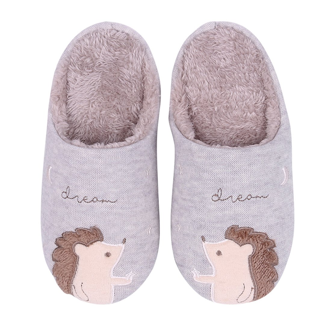 Cute Animal House Slippers Hedgehog Dog Family Indoor Slippers Waterproof Sole Fuzzy Bedroom Slippers for Kids 16G-M