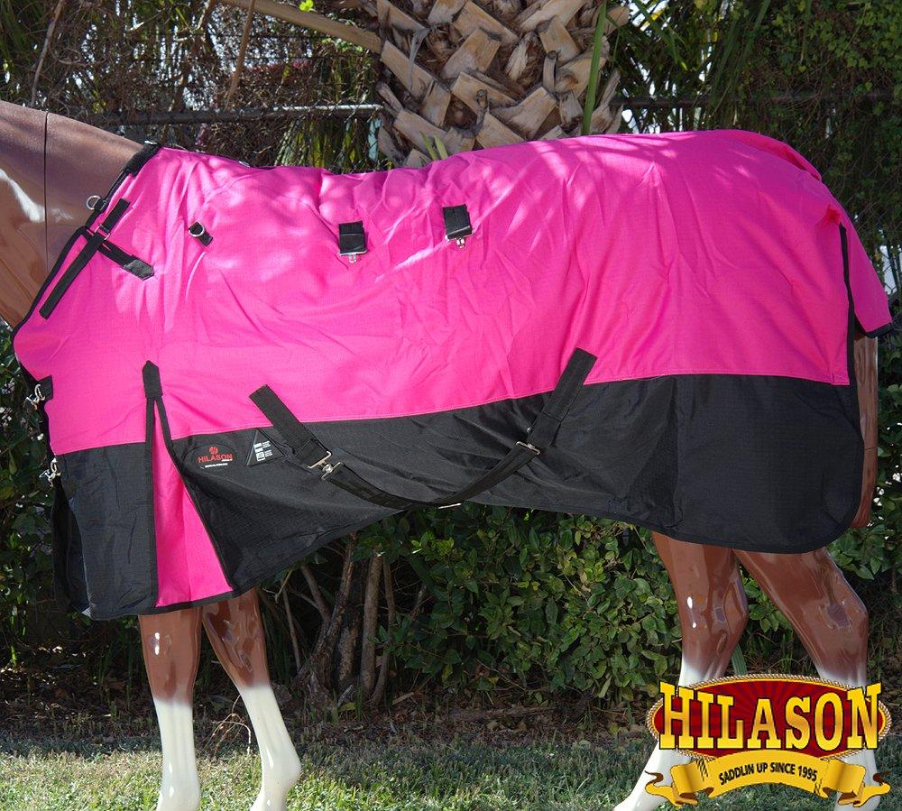 HILASON 72 1200D Ripstop Waterproof Turnout Winter Horse Blanket Pink Black