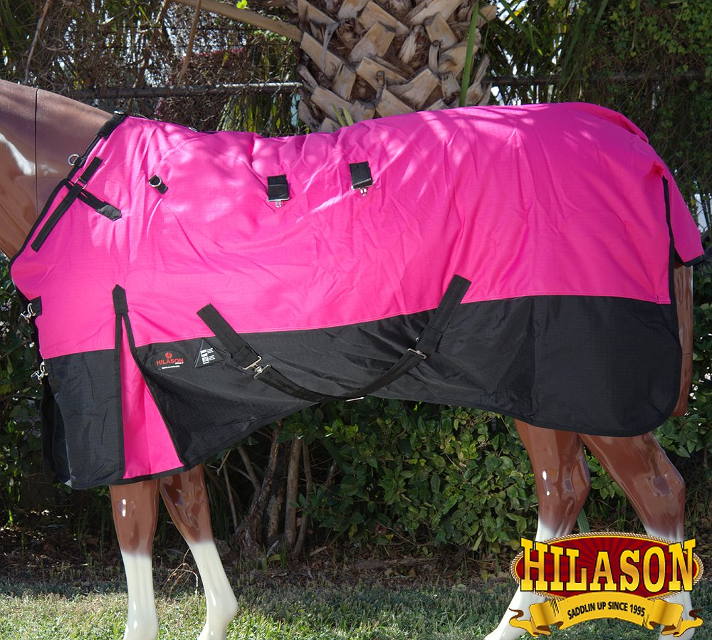 HILASON 78'' 1200D RIPSTOP WATERPROOF TURNOUT WINTER HORSE BLANKET PINK BLACK