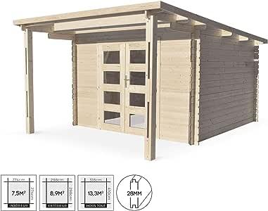 Alices Garden - Caseta de jardín moderna con toldo Mormal de madera FSC de 13, 3 m2, estructura de listones de 28 mm, tejado plano de abeto seco: Amazon.es: Jardín
