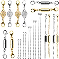 Beinhome 22Pcs Magnetic Jewelry Clasps and Necklace Extenders Gold Silver, Multiple Sizes and Styles Chain Extenders…