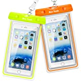 Clear Universal Waterproof Case, Ace Teah Dry Bag, Pouch, Transparent Snowproof Dirtproof Protective Cover for iPhone 8 76 6S Plus X Samsung Galaxy S7 S6 edge, Note 5 4 3 2 - Orange, Green (2 Pack )