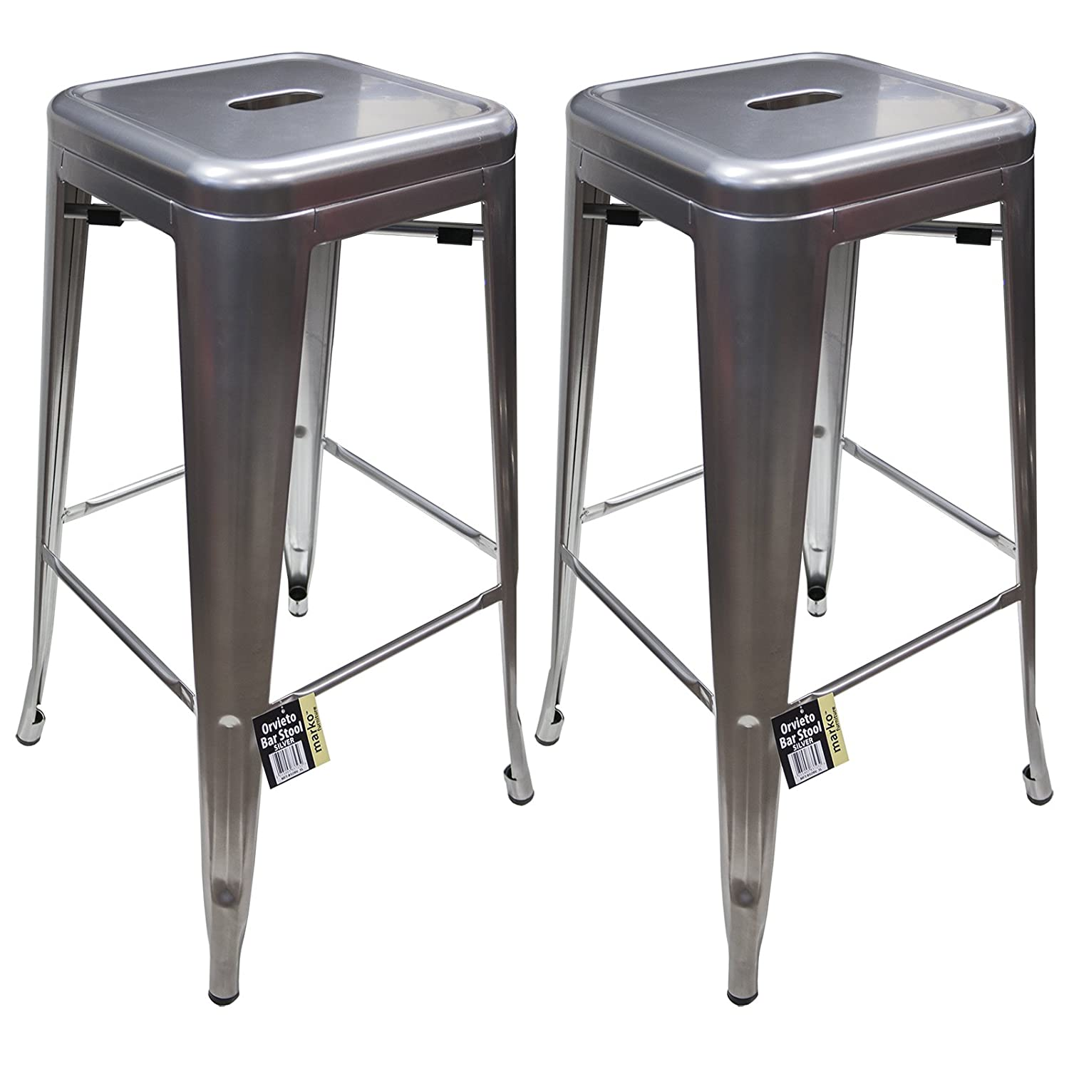 Marko furniture metal breakfast bar stool seat chair industrial vintage classic style kitchen 2 silver amazon co uk kitchen home