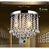 Junhong Flush Mount Ceiling Light LED 3 Brightness K9 Crystal Chandelier, Pendant Light, Apply to Living Room,Corridor…