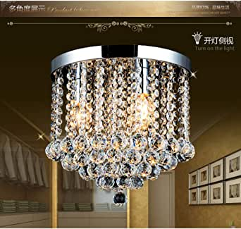 "Junhong Flush Mount Ceiling Light LED 3 Brightness K9 Crystal Chandelier, Pendant Light, Apply to Living Room,Corridor,Aisle Lights,with LED Bulbs (D13.8"" x H11"" / D35cm x H28cm)"