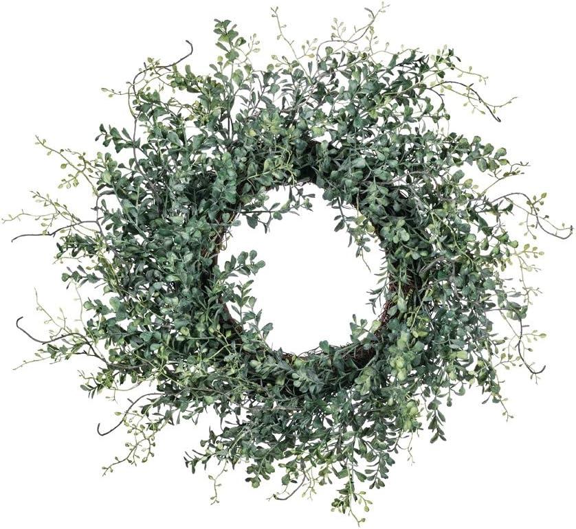 "Sullivans Blue Boxwood 24"" Decorative Artificial Wreath, x 7 Inches, Green"