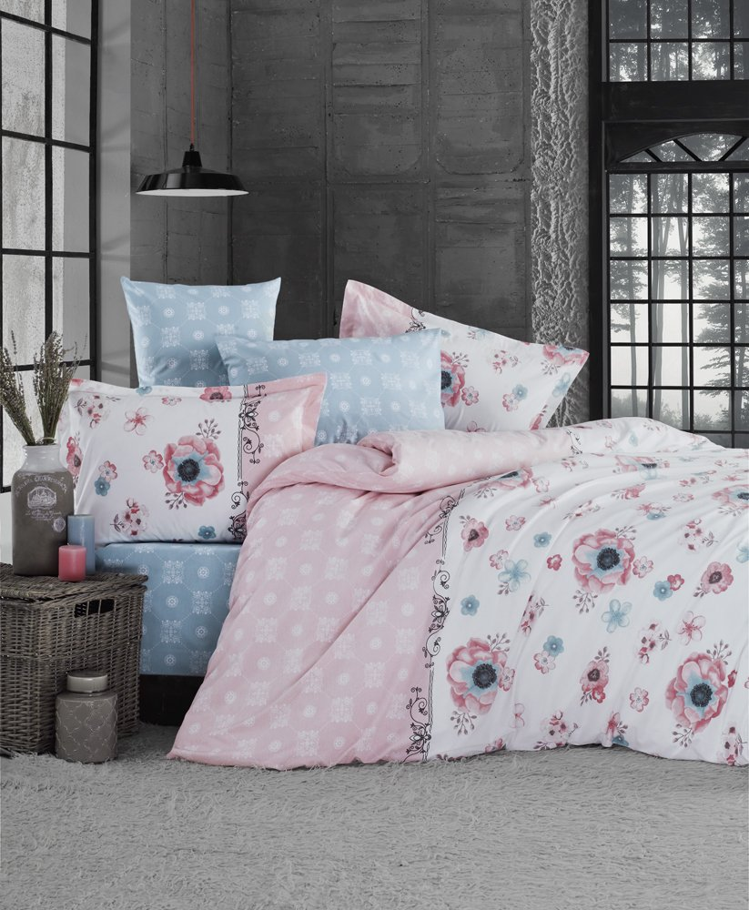 Ti Home Lir V1 Pink Floral Duvet Cover Set, 100% Cotton Ranforce, 3 Pcs Single Size Bedding Set