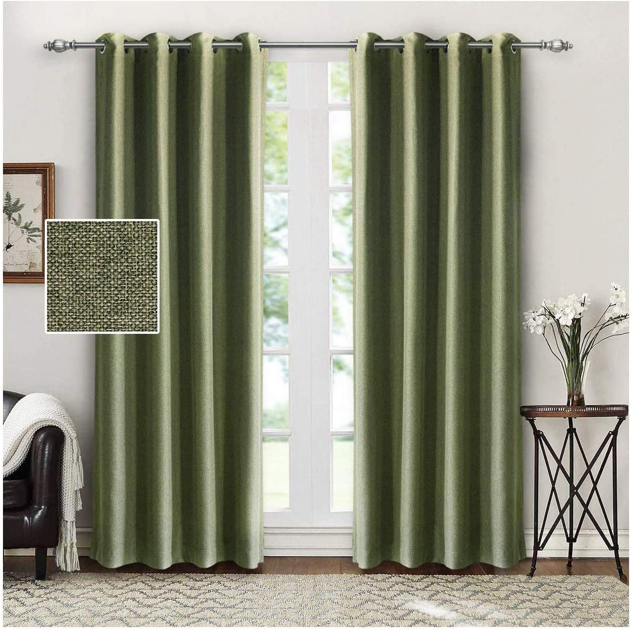 SINGINGLORY Green Room Darkening Curtain