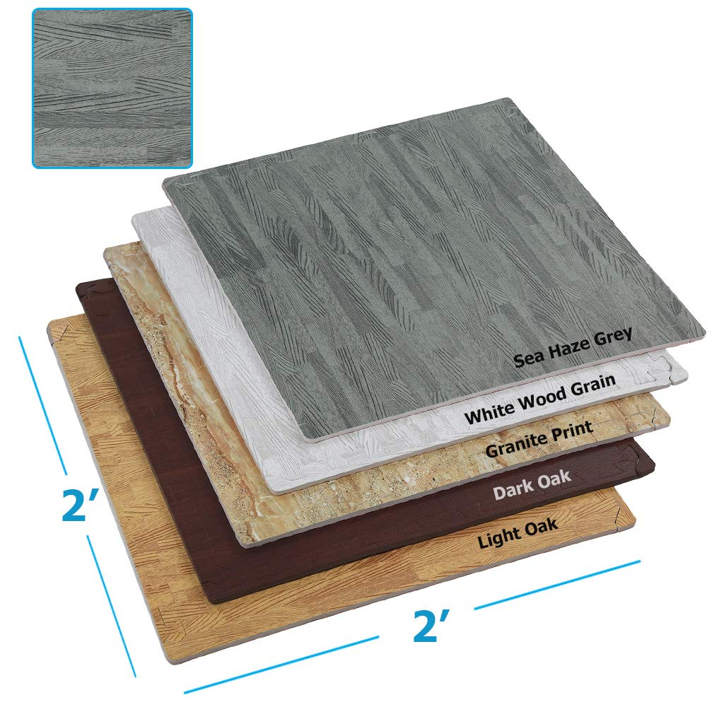Clevr 100 Sq. Ft (10' x 10') EVA Interlocking Foam Mats Flooring, Grey Wood Grain Style - (24'' x 24'', 25 pcs)   Includess Tile Borders   1 Year Limited Warranty   Perfect for Trade Shows and Convent