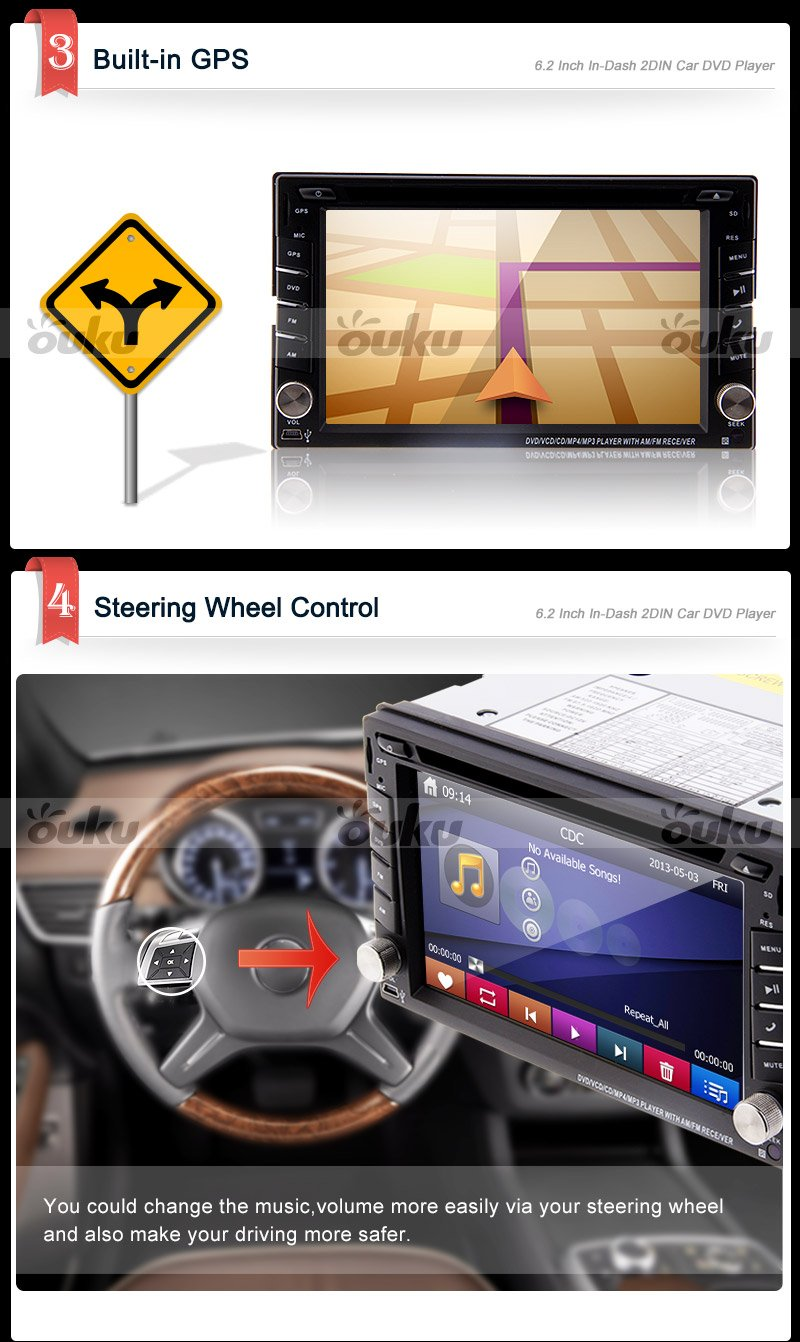 Ouku 62 2din Lcd Tft In Dash Car Dvd Player With Stereo Wire Harness Cd Mp3 Mp4 Usb Sd Radio Bt Audio Gps Navigation Map Card Electronics