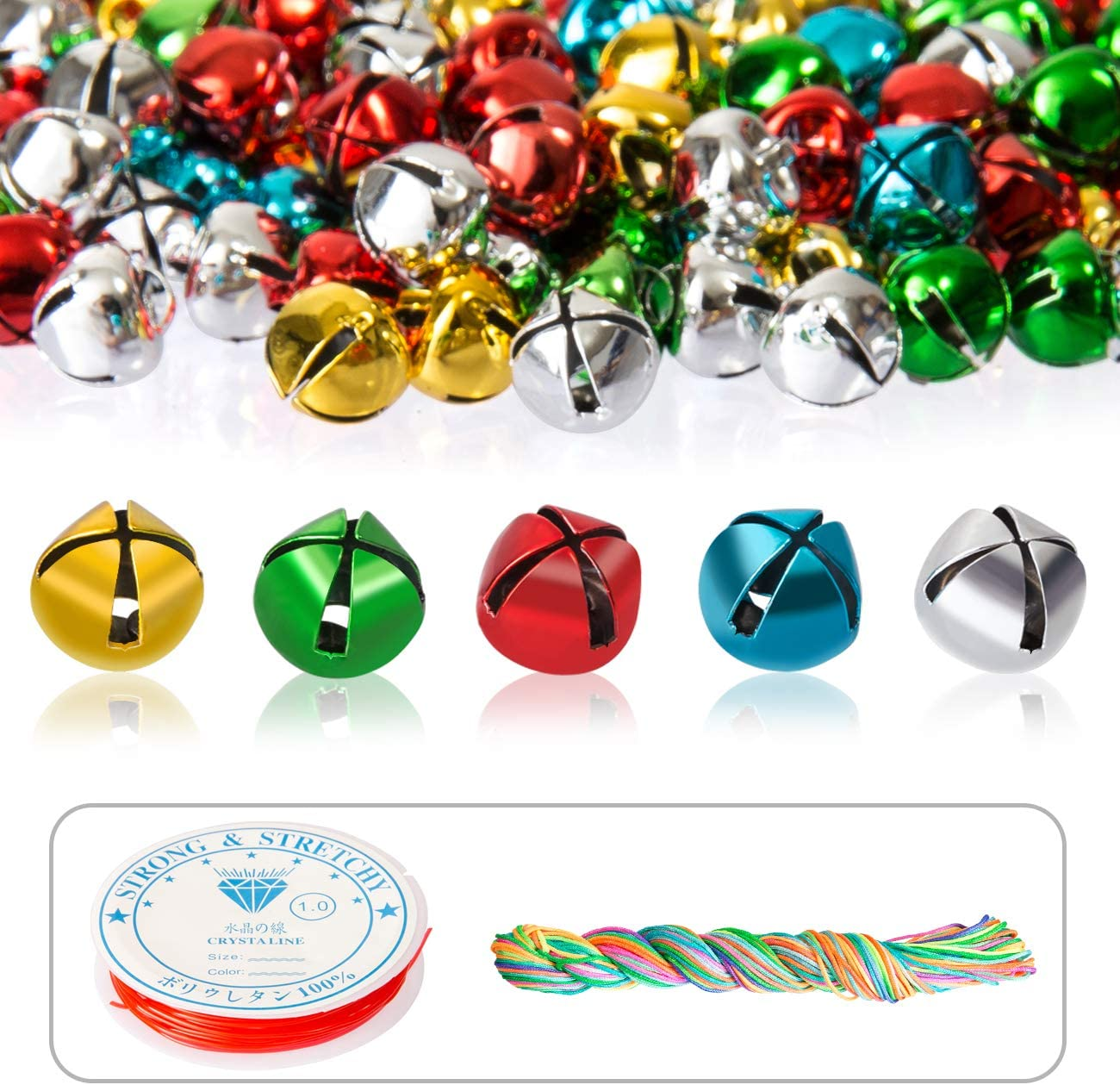 Naler 300 Pieces Mini Jingle Bells Multicolored Craft Small Bells with Cord and Elastic String for DIY Jewelry Making Christmas Party Festival Decorations 0.4 Inch