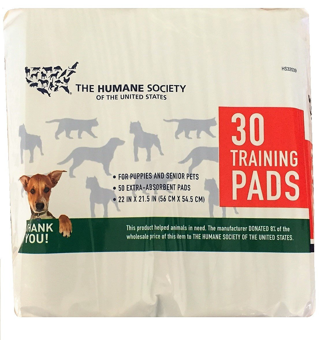 The Humane Society Extra-Absorbent Puppy and Dog Training Pads - 30 Pet Training Pads