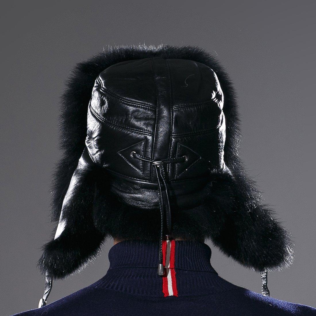 URSFUR Winter Russian Fur Hat Mens Real Fox Fur Ushanka Trapper Cap Black by URSFUR (Image #6)