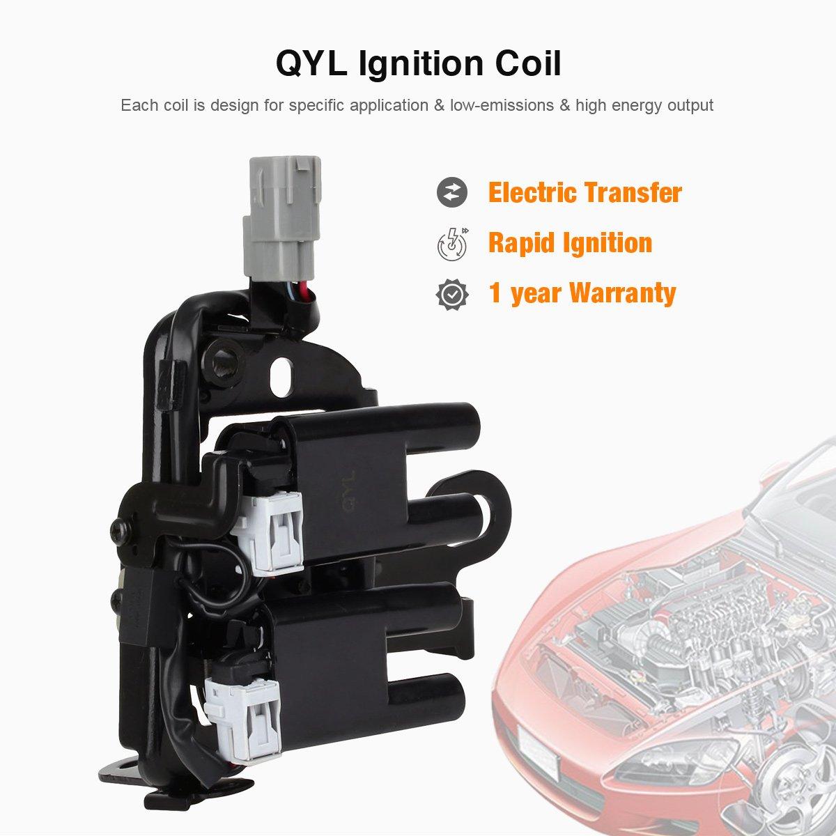 QYL Bobina de encendido pack para Hyundai Elantra Coupe Tucson Kia Spectra Sportage L4 2.0L uf419 C1434: Amazon.es: Coche y moto