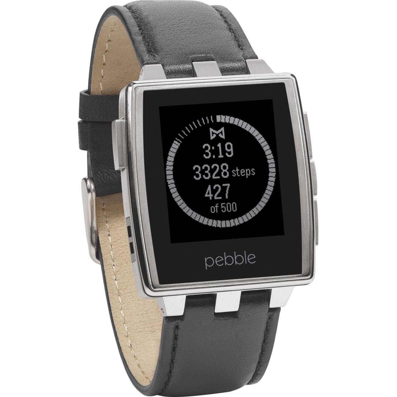 Pebble timeline time steel smartwatch stainless black leather band new 855906004184 ebay for Pebble watches