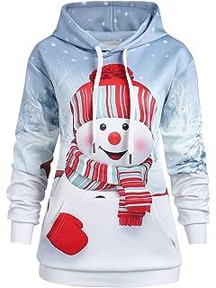 f5b307a77669e Kenancy Womens Christmas Snowma Plus Size Hoodie Sweatshirt Funny Holiday  Pullover