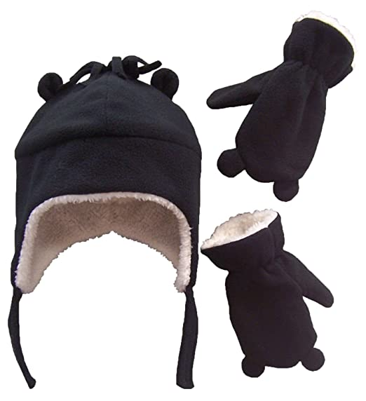 N Ice Caps Little Boys and Baby Sherpa Lined Fleece Hat Mitten Set with Ears 27a0f82ec93f