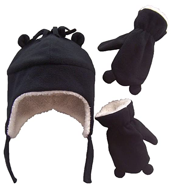 N Ice Caps Little Boys and Baby Sherpa Lined Fleece Hat Mitten Set with Ears 3308b730fb0