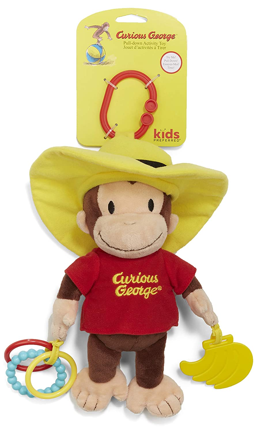 KIDS PREFERRED Curious George Pull-Down Plush Baby Activity Toy