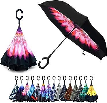 Vibrant Pink Flower Parquet Double Layer Inverted Umbrellas C-Shaped Handle Reverse Folding Windproof Umbrella for Women Men
