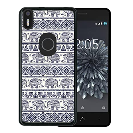 WoowCase Funda Bq Aquaris X5 Plus, [Bq Aquaris X5 Plus ] Funda Silicona Gel Flexible Elefante Azul, Carcasa Case TPU Silicona - Negro