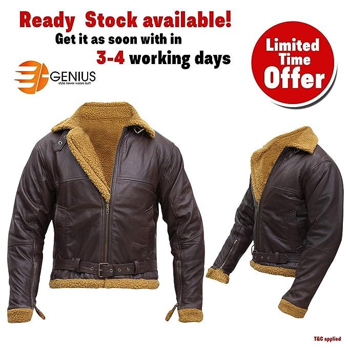 a664fbb3a e Genius Men's Aviator RAF B3 Ginger Shearling Sheepskin Leather ...