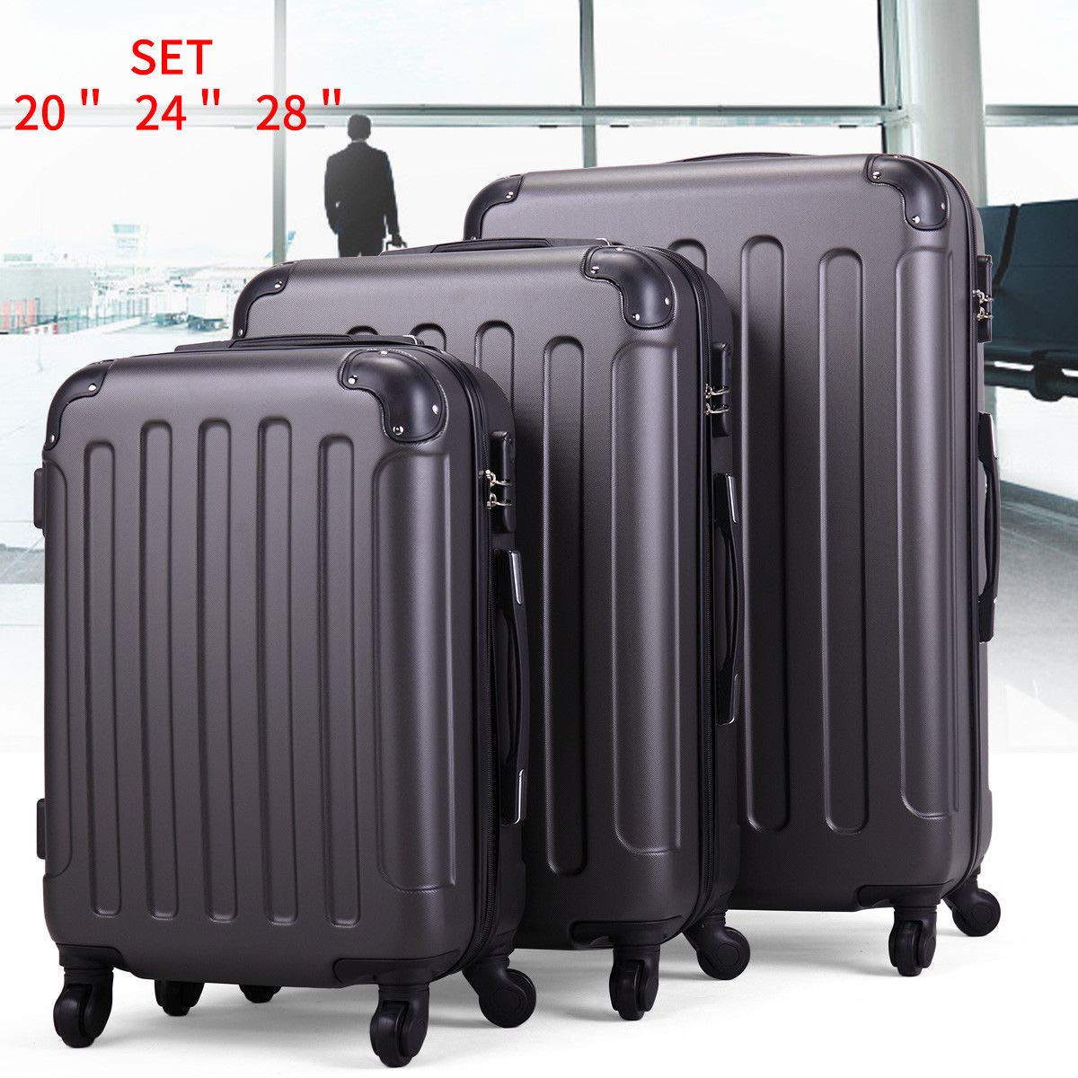 Travel Set Bag ABS+PC Handle Metal Trolley Suitcase Firm Coded Lock Gray Luggage 3 Pcs.