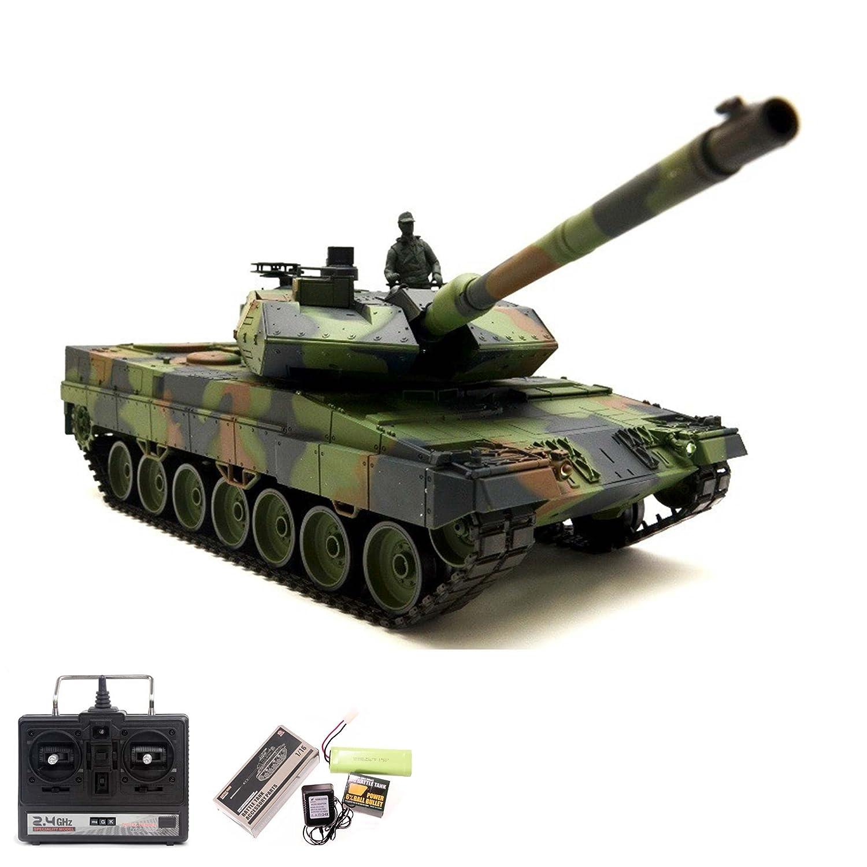German Leopard 2A6 RC ferngesteuerter 1 16 Panzer Upgrade Edition mit 2.4GHz Technik, Metallgetriebe,Schuss-, Sound- und Rauch-Funktion, Kettenfahrzeug Tank Modellbau-Maßstab, Komplett-Set RTR