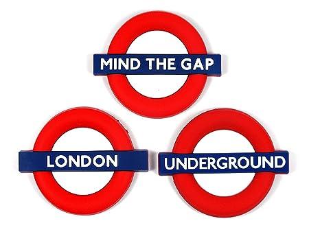 Imanes para nevera de goma con diseño de cartel de señal de metro londinense con el texto en inglés «Mind the gap», «Underground» y «London»