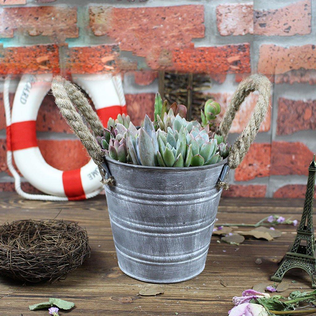 Jiay Petits Vases D/écoratifs De Fleur De Planteurs De Seaux en M/étal avec des Poign/ées De Corde