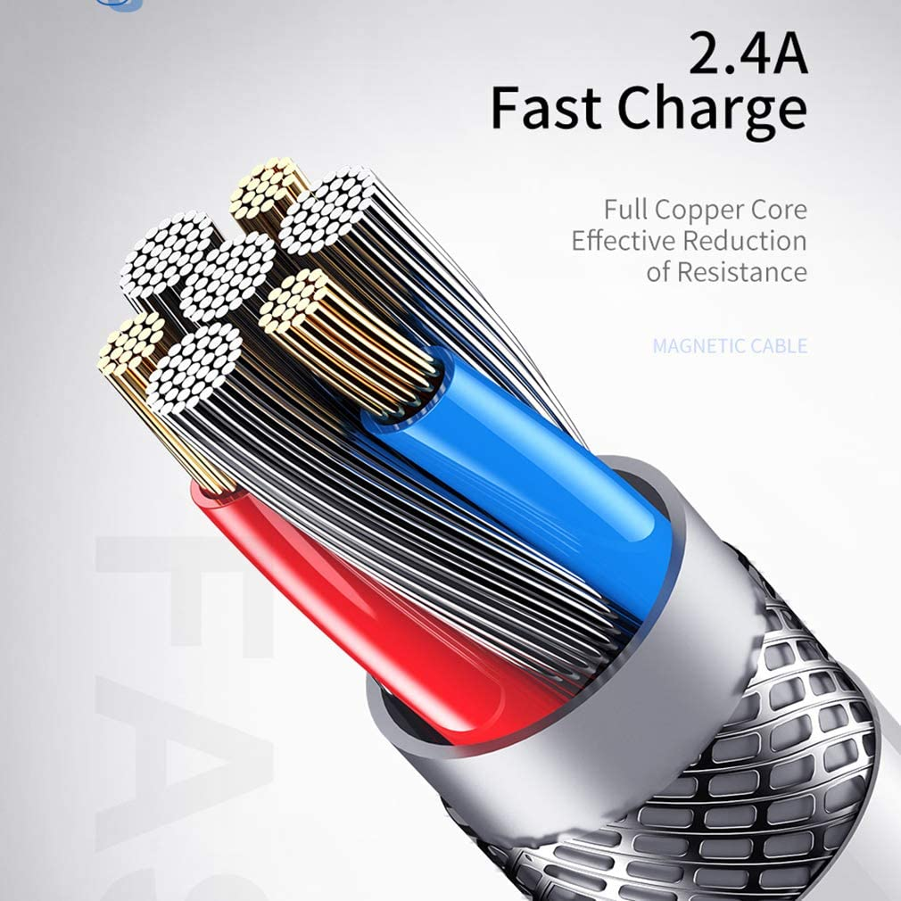 LIQIAN 3-in-1 Magnetic Fast Charging Cable Multi-Interface Magnetic Suction Cable Suitable for Micro USB and USB-C Smartphones and iOS 6.6 Feet//Red